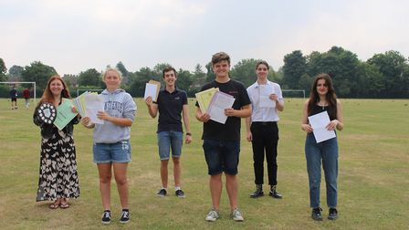 A-level students at County Upper School with their results Picture: GOODERHAM PR