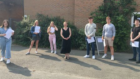 Students at St Benedict's Catholic School in Bury St Edmunds collecting their A-level results. Pictu