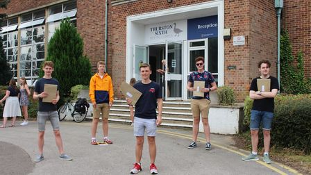 Thurston Sixth students with their A-level results Picture: THURSTON COMMUNITY COLLEGE