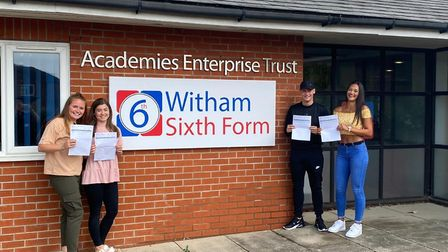 Pupils from Witham Sixth Form celebrated their A-Level results today. Picture: WITHAM SIXTH FORM
