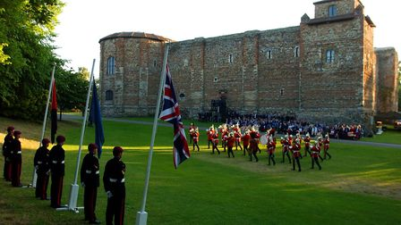The Band of the Dragoon Guards performing at the Beating the Retreat ceremony at Colchester Castle i