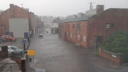 Swan Lane in Haverhill has had intense rainfall this morning. Picture: PAUL WILLIAM