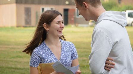 Paige Chapman and Joshua Henson-Mendez receiving their results at Stowmarket High School Picture: DA
