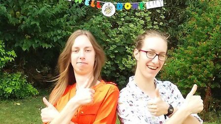 Saint Felix School pupils Lily and Alice Talbot celebrate exam success after collecting results onl