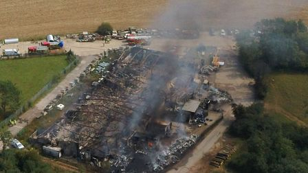 Emergency services were called to the fire in Parham on Thursday morning Picture:CHRIS EDGE