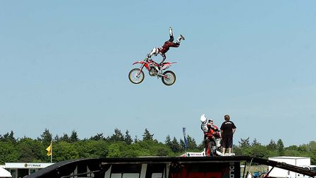 The Bolddog Lings Display Team perform motorcyle stunts in the Grand Ring at the South Suffolk Show