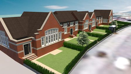 Renders of the 11 homes on the site of the former Leiston Grammar School on Waterloo Avenue, Leiston