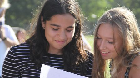 Pupils from Thomas Gainsborough School are pleased with their results Picture: THOMAS GAINSBOROUGH S