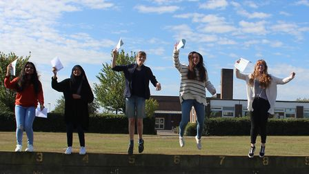 Students toast their results in Clacton Picture: CLACTON COASTAL ACADEMY