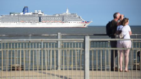The cruise ship Arcadia, is moored just off Southwold near the pier. Picture: DENISE BRADLEY