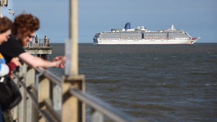 Just 100 crew members are aboard the Arcadia cruise ship off the coast of Southwold. Picture: DENISE