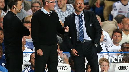 Lambert and Mourinho on the Stamford Bridge touchline during their time in charge of Aston Villa and
