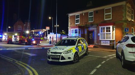Emergency services at the scene of the explosion in Station Road, Stowmarket. It is believed a gas c