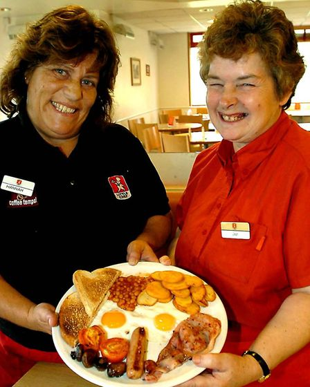 The staff who served Prince Harry at Little Chef in 2007, Vonie Falco and Jean Flack Picture: WEND