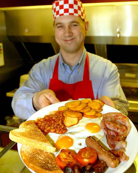 Chef Jon Stone at the Little Chef at Barton Mills where Prince Harry stopped for an Olympic Breakfas
