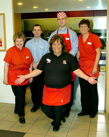 The staff at the Little Chef at Barton Mills who were pleased to serve Prince Harry in 2007, from le