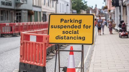 The Safer Spaces barriers were put up in Hadleigh High Street to enforce social distancing, however
