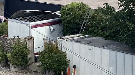 The roof of the burger van has come away from the rest of the structure Picture: ABI TURP