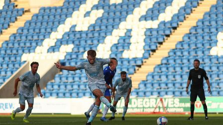 Aaron Drinan converts from the spot for his second goal in Ipswich Town's 4-0 win at Colchester Unit