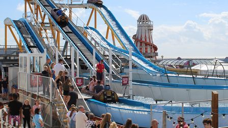 Crowds gathered to try out the new log flume at Clacton Pier. Picture: CLACTON PIER