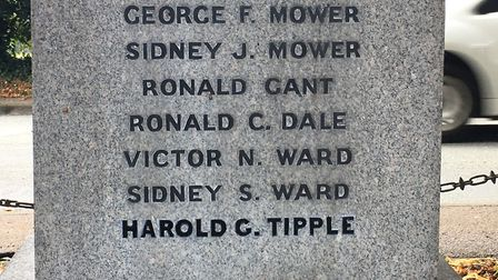 Hintlesham War Memorial, with Harold Tipple's name now added Picture: GERALD MAIN