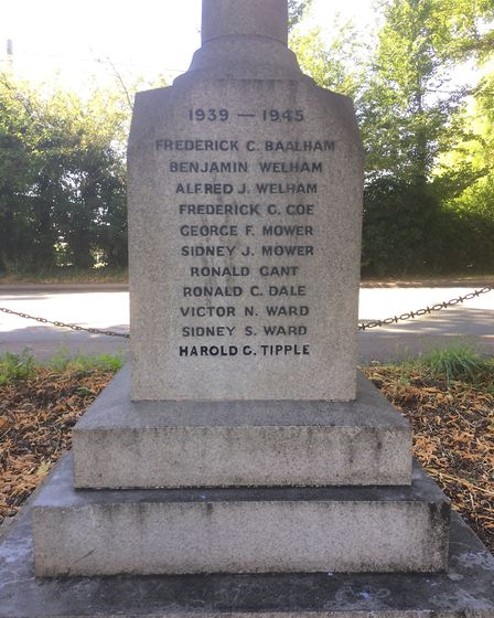 Hintlesham War Memorial, with Harold Tipple's name added Picture: GERALD MAIN