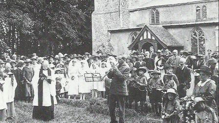 The dedication of Hintlesham War Memorial in 1920 Picture: SUFFOLK ARCHIVES