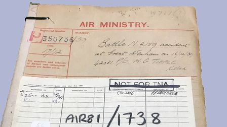 Documents about Pilot Officer Harold Tipple's death from the National Archives in Kew Picture: GERAL