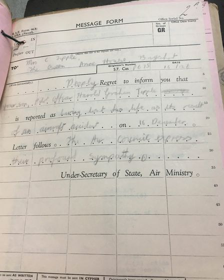 A note taken at Wattisham for the wording of the telegram which was to be sent to the pilot�s mother