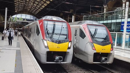 Spot the difference! The train on the left is an Intercity train from Norwich at the buffers in Live