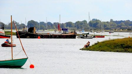 The 'Lasher' barge docking in at Woodbridge, after travelling down from the River Thames. Picture: C