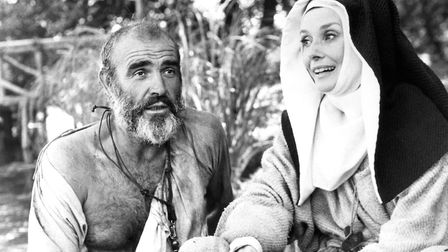 Sean Connery and Audrey Hepburn in a scene from Columbia's new film, Robin and Marian, Connery was n