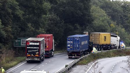The A14 closed after two lorries collided Picture: CHARLOTTE BOND