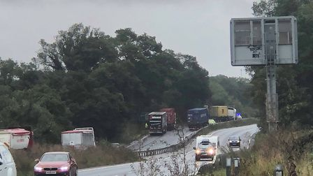 The A14 eastbound carriageway is closed after a serious collision this morning by Moreton Hall, Bury