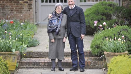 Griff Rhys Jones with his mum, Gwyneth, at his home in Stutton where cyclists have been using the pu