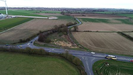 New roundabouts are being built on the A140 near Eye - the southern one is at the junction of Castle