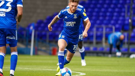 Teddy Bishop on the ball in Ipswich Town's 4-1 defeat to West Ham this afternoon. Picture: STEVE WAL