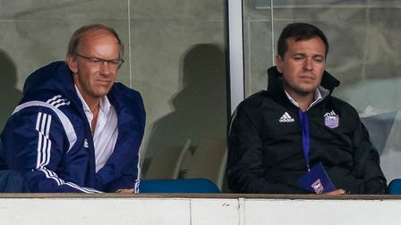 Ipswich Town owner Marcus Evans and general manager of football operations Lee O'Neill pictured duri
