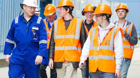 Roger Barge, apprentice coordinator at Sizewell B with students