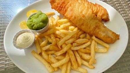 The fish and chips main at the Stowupland Crown