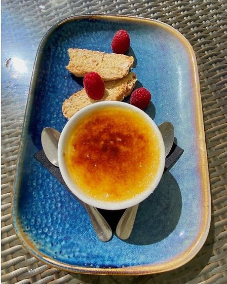 The creme brulee and hazelnut biscotti dessert at the Stowupland Crown