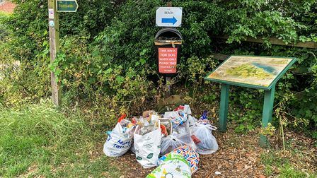 Bags of rubbish left at the entrance of the footpath that leads to the beach in Cove Hithe Picture: