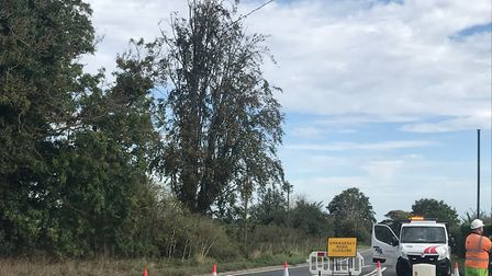 The road is also closed at Brantham Picture: SOPHIE BARNETT