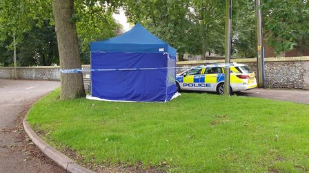 A cordon set up outside the grounds of St Gregory's Church in Sudbury Picture: MATTHEW EARTH
