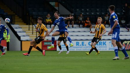 Emyr Hughes has a shot blocked at Cambridge United Picture Pagepix Ltd