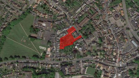 Land with plans for 22-home estate in Violet Hill Road, Stowmarket up for £1.3m sale. Picture: GOOGL