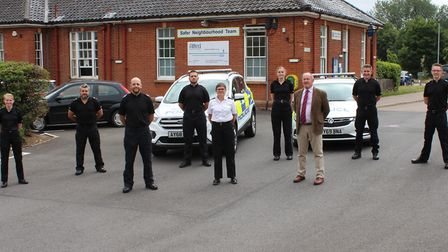 The new Suffolk police Kestrel team with Sgt Kelvin Wenden on the left, Ch Supt Marina Ericson in th