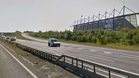 The collision occurred on the A12 near Colchester United FC. Picture: GOOGLE