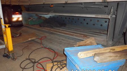 The drugs were found hidden in steel ramps carried on board Dariusz Urban's lorry. Picture: NATIONAL