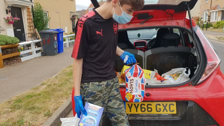 Jadon Leathers heped collect and deliver food parcels during lockdown. Picture: SUFFOK ACF